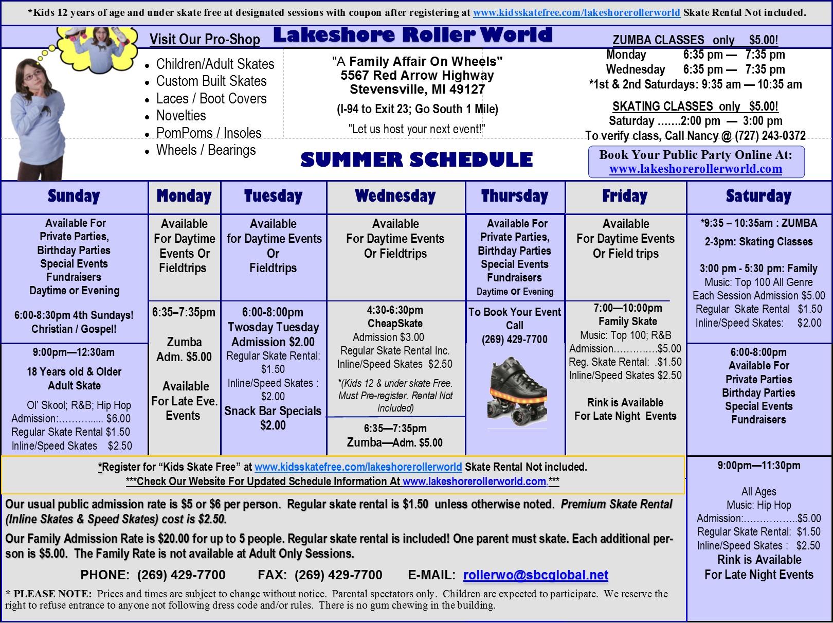 LRW 2017 Summer Schedule